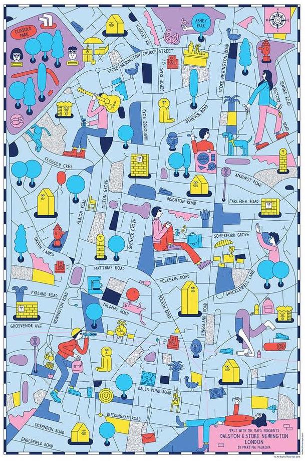 Illustrated-map-Dalston-Stoke-Newington-London